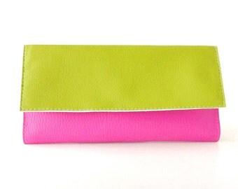 Green and pink wallet organizer, long wallet clutch, vegan wallet for her, card holder wallet case, green wallet, slim leather wallet zipper