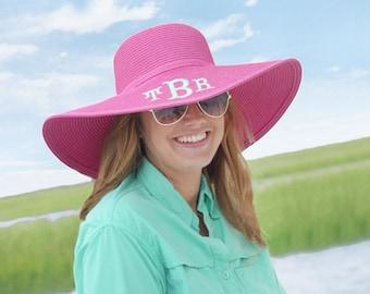 Monogrammed Hot Pink Floppy Sun Hat---Free Monogramming--Fast Turnaround