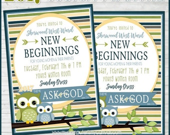 2017 YW Theme Invitation, PERSONALIZED New Beginnings or YW in Excellence  (Not Instant Download, Available in 1-2 days)
