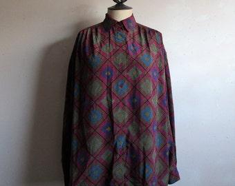 Vintage 1980s Regina Porter Blouse Mulit-color Diamond Dot 80s Designer Shirt 8