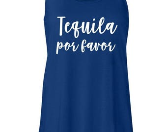 Tequila por favor royal blue flowy tank
