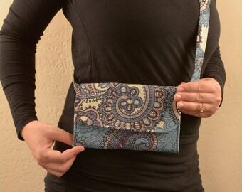 Blue Paisley Kangaroo pouch