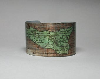 Cuff Bracelet Sicily Italy Europe Map Travel Hometown Ancestry Gift for Men or Women