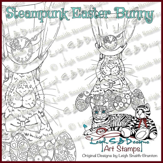 Whimsical Steampunk Easter Bunny digi stamp available for instant download