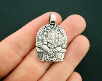 2 Ganesha Pendant Charms Antique Silver Tone Amazing Detail Side Loop - SC6245