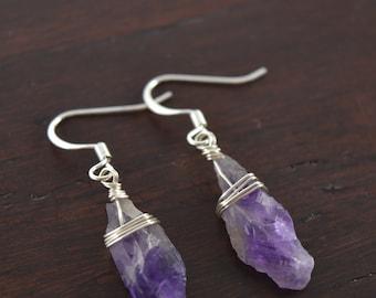 Amethyst Druzy Crystal Point Earrings, February Birthstone Earrings, Quartz Crystal Point Earrings, Raw Crystal Earrings