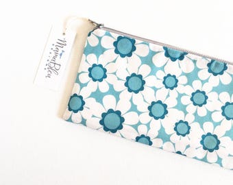 Floral Cosmetic Bag, Zipper Pouch, Pencil Pouch, Pencil Case, Blue Daisies, Gift for College, Kids, Teens, Women, Organizer Bag, Blue White