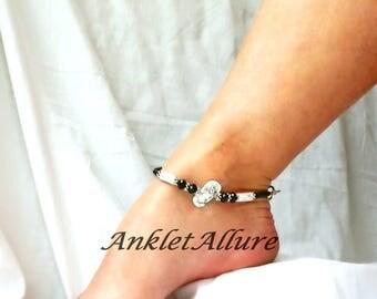 Stone Beach Anklet Black Flip Flop Anklet Beach Body Jewelry Black Ankle Bracelet Body Jewelry