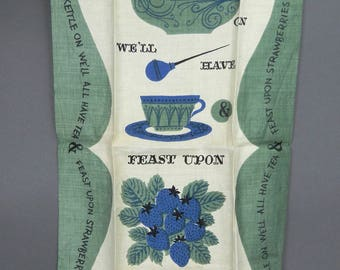 Vintage TAMMIS KEEFE Tea TOWEL Polly Put The Kettle On - Kitchen Motto - Rare Dish Towel