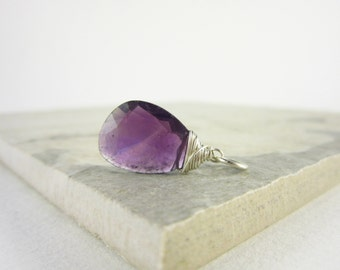 Sterling Silver Charms - Purple Amethyst Gemstones - Natural Amethyst Charms - Genuine Amethyst Pendant - Amethyst Birthstone Jewelry