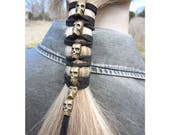 Skull Hair Jewelry Black Leather Hair Ties Ponytail Holder Biker Goth Punk Horror Wrap Extensions  Antique Gold Z106
