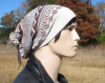 Knit Beanie Hat Slouch Tam Ivory Blue Brown Fair Isle Striped Oversized Cotton Leather Tie Back Slouchy Beanie for Men  A1786