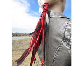 Leather Ponytail Holder Hair Wrap Extensions Beaded with Red & Black Feathers, BOHO Clothing  Hair Jewelry Long Fringe Ties, Music Festival
