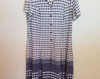 Vintage 1970's blue & white midi dress