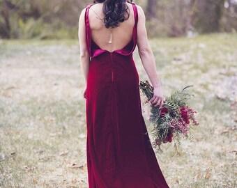 Velvet Wedding Dress, Backless, 1930, 1920, Art Deco, Vintage Inspired, SONATA, Winter Wedding, Red Alternative, Colors
