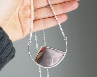 Polychrome Jasper Large Freeform Modern Silver Pendant Necklace One of a Kind