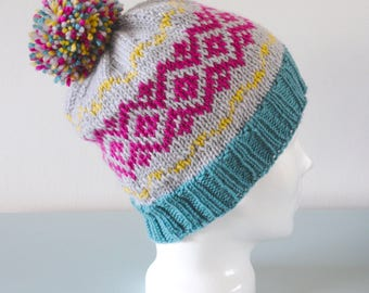 Pink Fair Isle Beanie Hat - Grey Green Yellow Modern Knitted Zig Zag Merino Wool Pom Pom Winter Accessory Gift for Her by Emma Dickie Design