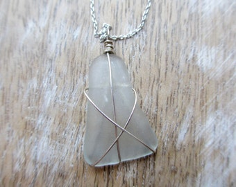 Triangular Piece of Translucent Genuine Sea-glass Wrapped in Sterling Silver Wire on Adjustable Silver Chain