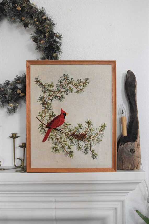 embroidered red cardinal bird on tree needlepoint framed picture // cross stitch // wall hanging