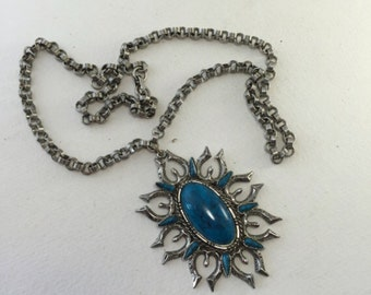 Brutalist Pendant Necklace, Teal, Oval, Starburst, Sunburst, Mod Silver tone Chain, Tribal, Retro, Vintage Jewelry