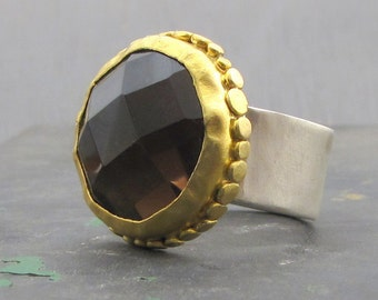 Smoky Topaz Gemstone Ring, Gold and Silver, 24kt Gold , Handmade Gold Ring , Statement Ring