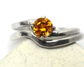 Orange Sapphire Wedding Set, Curved Offset 5mm Lab Grown Gemstone Engagement Ring, Minimalist Bridal Set, Womens Simple Silver Wedding Band
