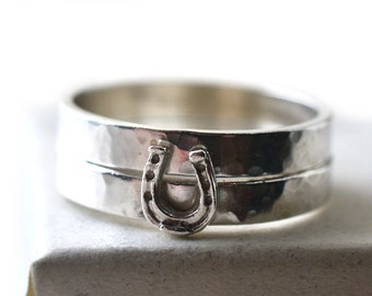 Silver Horseshoe Ring, Lucky Horseshoe Charm Ring, Custom Engraved Jewelry, Personalized Graduation Gift, Sterling Silver Stacking Ring Set