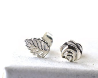 Leaf & Rose Charm Studs, Mismatched Asymmetrical Post Earrings, 925 Sterling Silver Botanical Charm, Women's Offbeat Wedding Jewelry