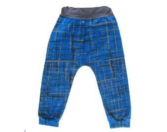 Boy Harem Pants, Kids Harem Pants, Baby Harems, Blue and Grey Baby Pants, Slim Harem Pants