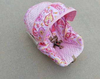 SALE Paisley fabric with light pink minky- Infant car seat cover- Custom Order- Always comes with free Reversible strap covers