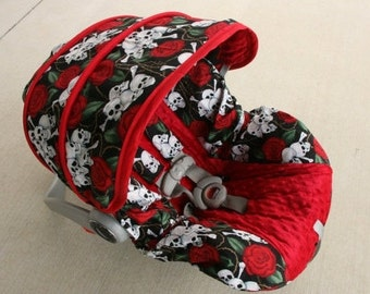 Skulls and Roses with Red minky- Infant car seat cover, Rock a Billy cover,  Steam punk cover,  Custom Order-comes with Free Strap Covers