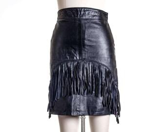 VTG Fringe Mini 100% Leather High Waist Skirt Size 6