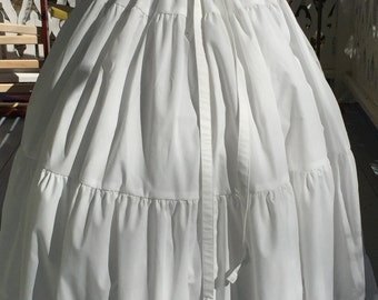 Ships Today - 3 Yard Cotton Ruffled  Petticoat Colonial, Pioneer, Prairie -Reenactment
