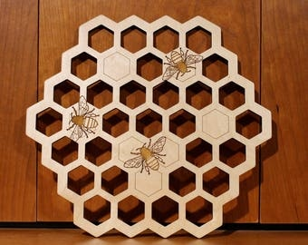 Honey bee Wall Art, Warm Pot Trivet, Pattern T16, Laser Engraved, Paul Szewc, Masterpiece Laser
