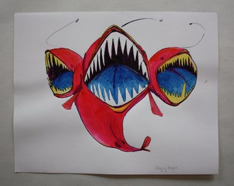 Angry Angler Fish ink illustration by Karly Fae Hansen