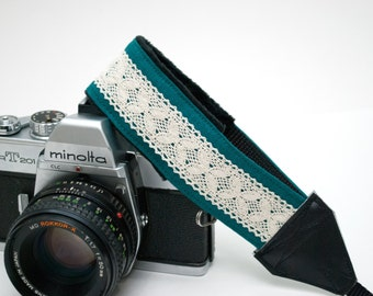Camera Wrist Strap - Lace Camera Strap - Camera Accessories - Photographer Gift - DSLR Camera Strap - Canon - Nikon - Teal Linen and Lace