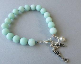 Aqua Bracelet, Knotted Bead Bracelet, Blue Beaded Knot Bracelet, Clasp Bracelet, Seahorse Bracelet, Ocean Bracelet, Shell Charm Bracelet