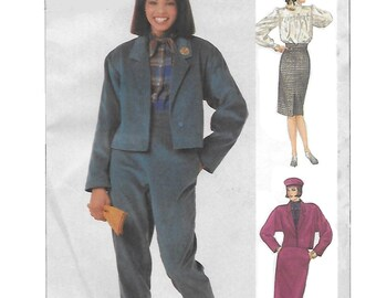 Simplicity 7600 Women's 80s Suit with Jacket Pants and Skirt Sewing Pattern Size 14 Bust 36