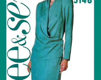 Butterick 5146 Women's 90s Semi Fitted Wrap Top & Skirt Sewing Pattern Bust 40 to 44
