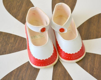 1960s Red and White Baby Mary Jane Shoes
