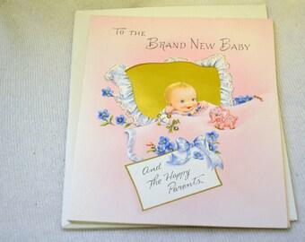 1950s NOS Baby Congrats Card with Envelope