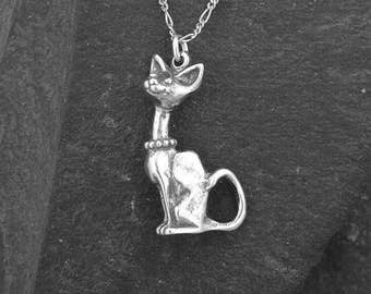 Sterling Silver Cat Pendant on a Sterling Silver Chain