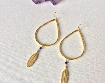 Lapis & Gold Feather Earrings, Gold Feather Earrings, Gold Dangle Earrings, Bohemian Chic Jewelry by Indira Boheme