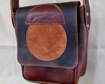 Mini Leather Satchel - Tumbled Bison and soft cowhide.  leather bag - womens leather bag - handmade purse - handmade leather bag