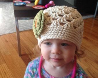 Crochet Girls Hat - Baby Hat - Toddler Hat - Newborn Hat - Fall Hat - Ecru (Beige) with Country Green Flower - in sizes Newborn to 3 Years