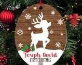 Personalized First Christmas Ornament, Baby Boy Keepsake Ornament, Baby's 1st Christmas, Christmas Deer Fawn, Christmas Gift (032)