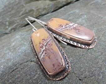 Sonoran Dendritic Rhyolite & Copper Earrings. Earthy Yellow, Dusty Pink, Geometric Earrings, Rhyolite, Silver Ear Wires, Handmade Earrings,
