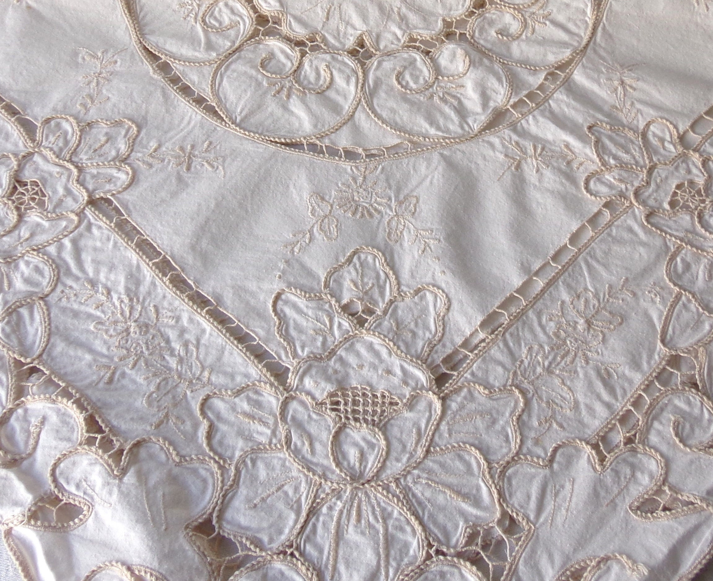 Vintage linen table cover centerpiece s