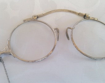 Ladies Vintage Chadco 12k White Gold Fill Lorgnettes, Opera Glasses, Framed Glasses Spectacles - Necklace