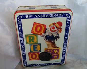 Vintage Oreo Cookie Tin, Vintage 40th Anniversary Oreo Cookie Tin, Vintage Cookie Tin